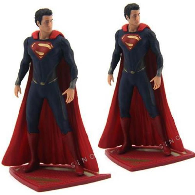 New LOT 2pcs DC UNIVERSE DC COMICS 2013 SUPERMAN Super Man Figure Collectible Model Kids Toy for Gifts image