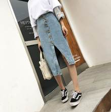 Sonny Button Front Slit Hem Pocket Patch Denim Skirt Women Casual High Waist Pencil Skirt Ladies Spring Summer Solid Midi Skirt(China)
