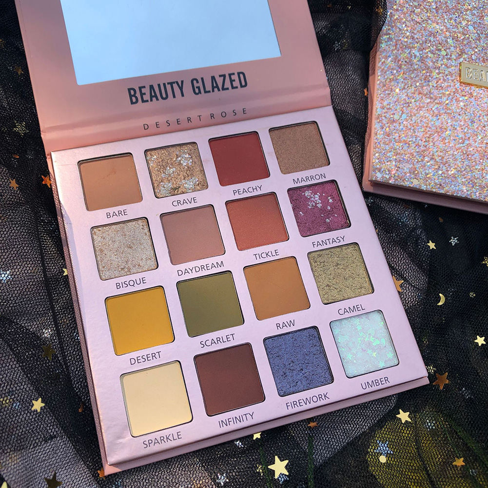 Beauty Glazed 16 Color Eyeshadow Pallete Glitter Eye Shadow Makeup Palette Waterproof Long Lasting Matte Eye Shadow SombrasTSLM1