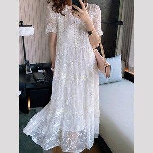 Высококачественная Летняя женская белая шелковая юбка с вышивкой, свободная юбка средней длины, пляжная юбка для отпуска, длинная юбка в бо...
