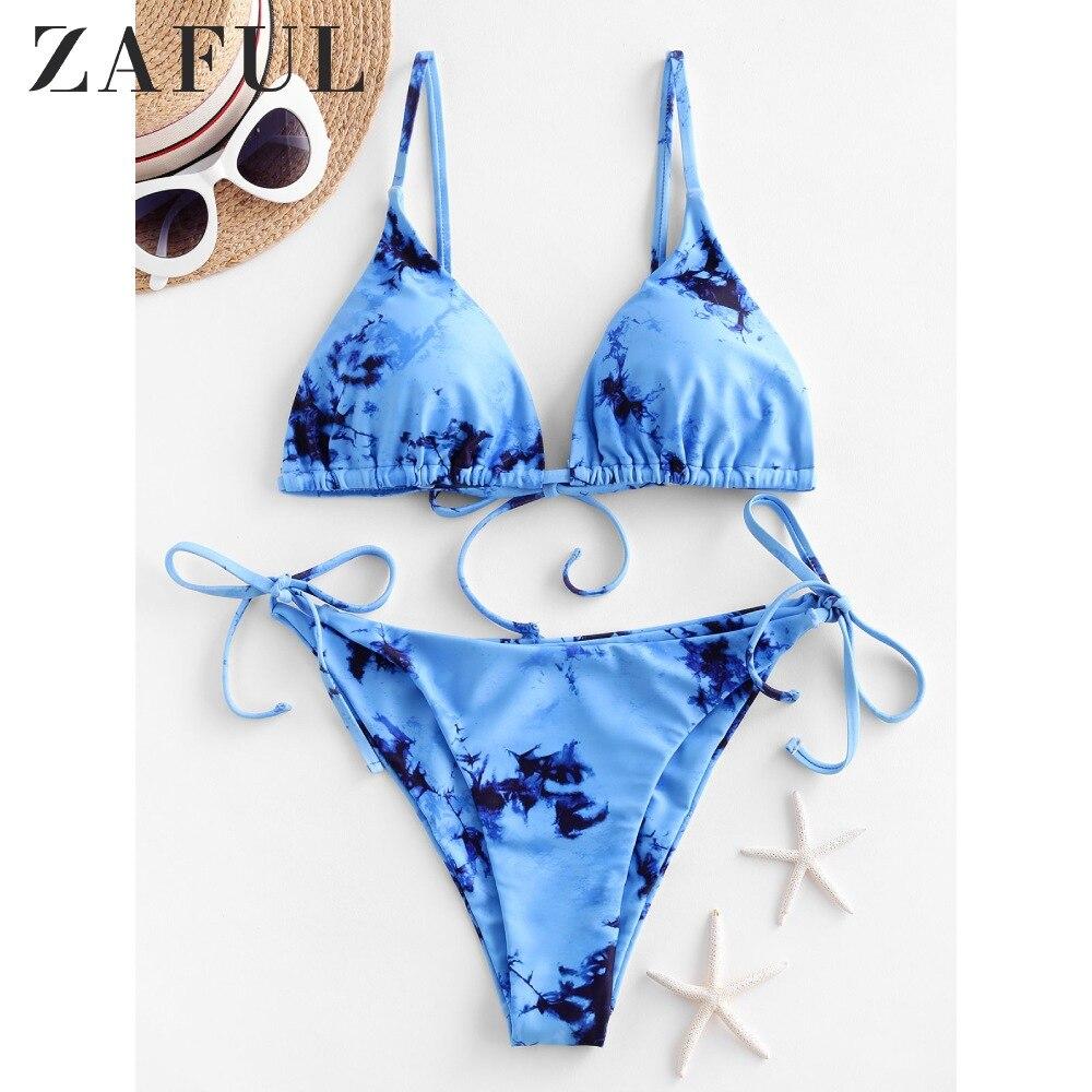 ZAFUL Bikinis Set Tie Dye Padded String Bikini Swimsuit Wire Free Spaghetti Straps Triangle Bikini Removable Padded Swimwear2020