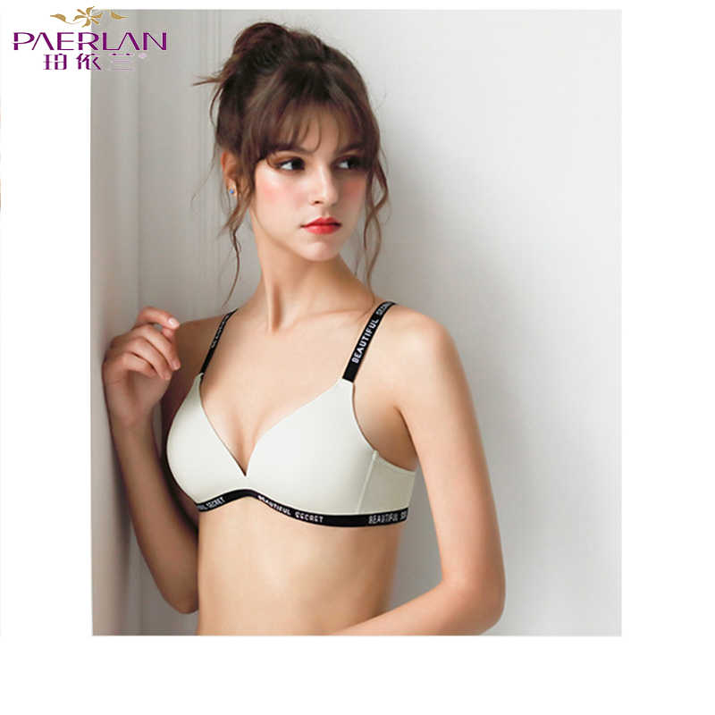 PAERLAN  Underwear Shoulder Strap Simple Letter Design Bra Back Buckle Double Row Push High Interior B Cup Sexy Solid Color Bra