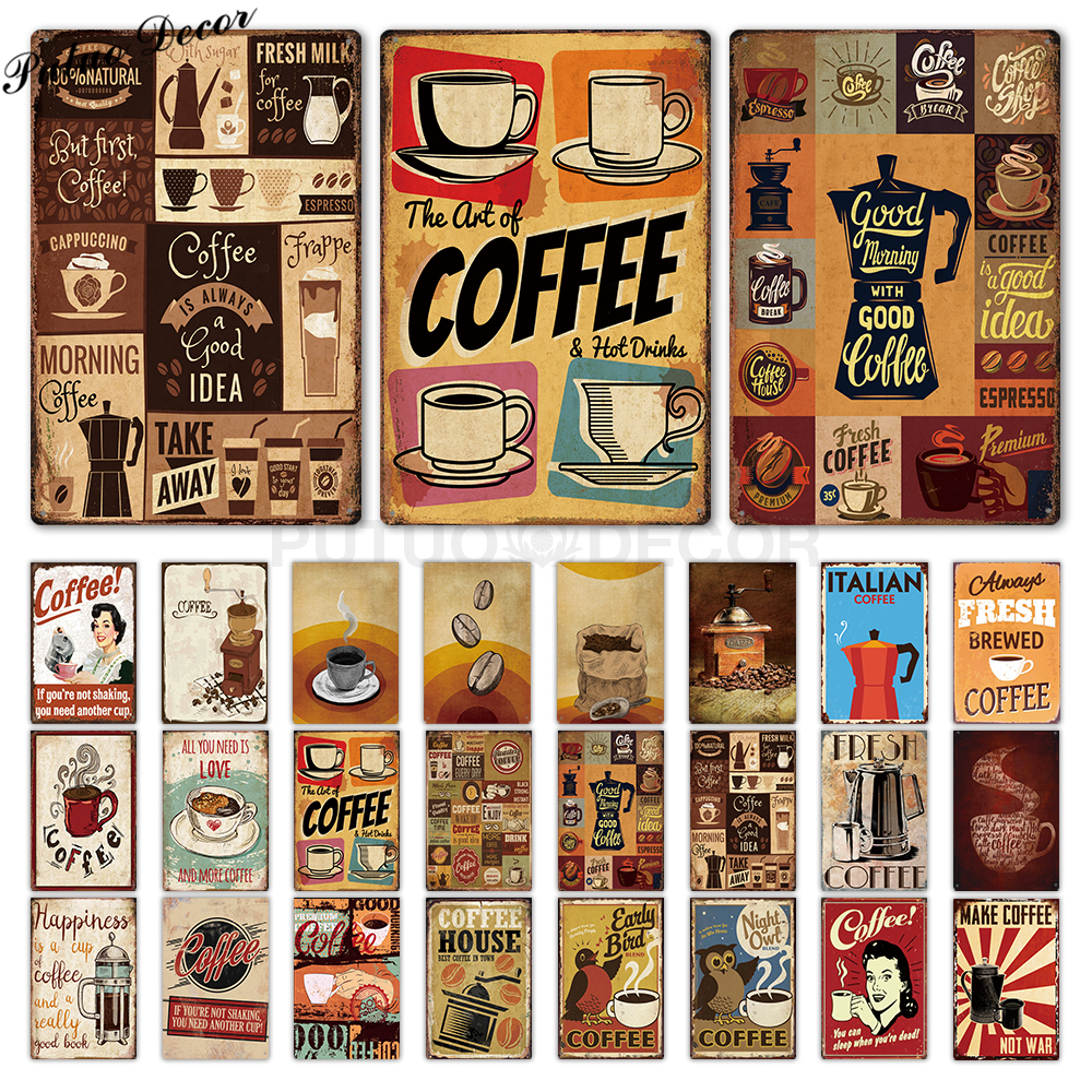 Coffee Metal Sign Vintage Tin Sign Plaque Metal Vintage Wall Decor for Kitchen Coffee Bar Cafe Retro Metal Posters Iron Painting