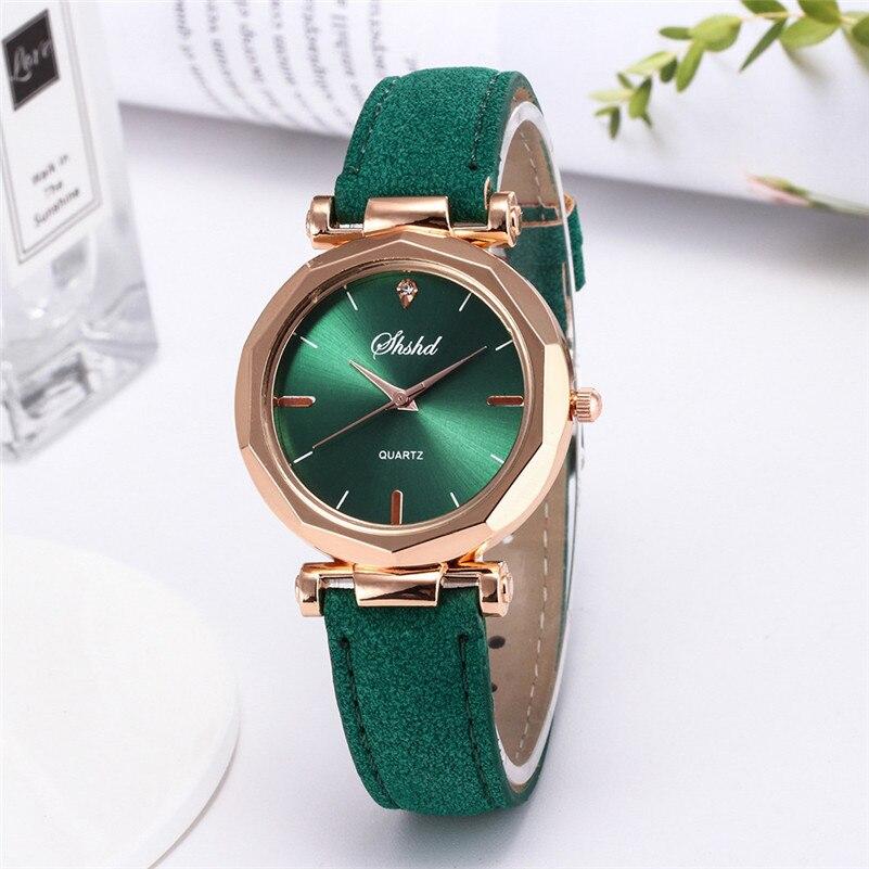 Модные женские кожаные повседневные часы, Роскошные Аналоговые кварцевые наручные часы с кристаллами, модные повседневные женские