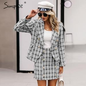 Image 1 - Simplee Tweed plaid two pieces women skirt suit Casual streetwear suits female blazer sets Chic office ladies women blazer suit
