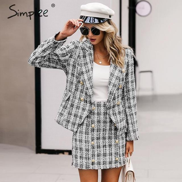 Simplee Tweed plaid two-pieces women skirt suit Casual streetwear suits female blazer sets Chic office ladies women blazer suit