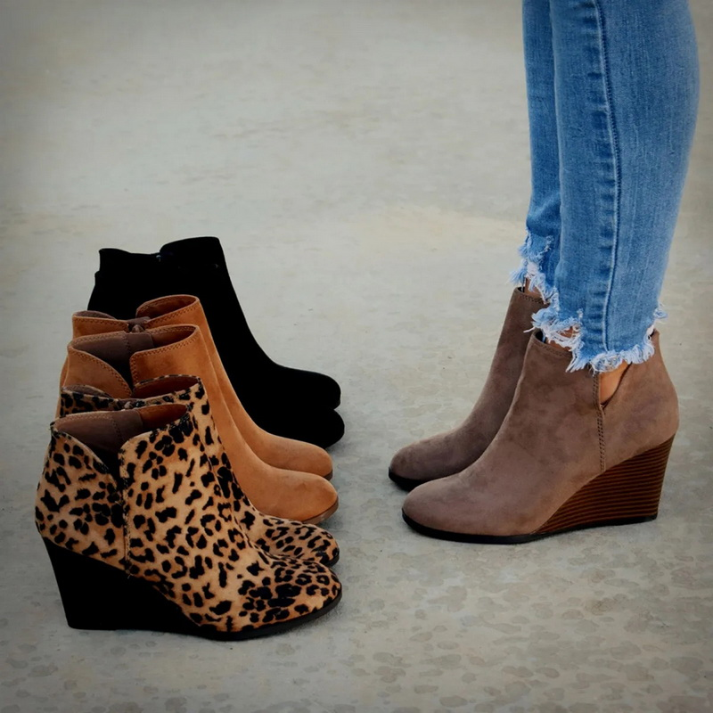 Oeak Pointed Toe Booties Winter Women Leopard Ankle Boots Lace Up Footwear Platform High Heels Wedges Shoes Woman Bota Feminina