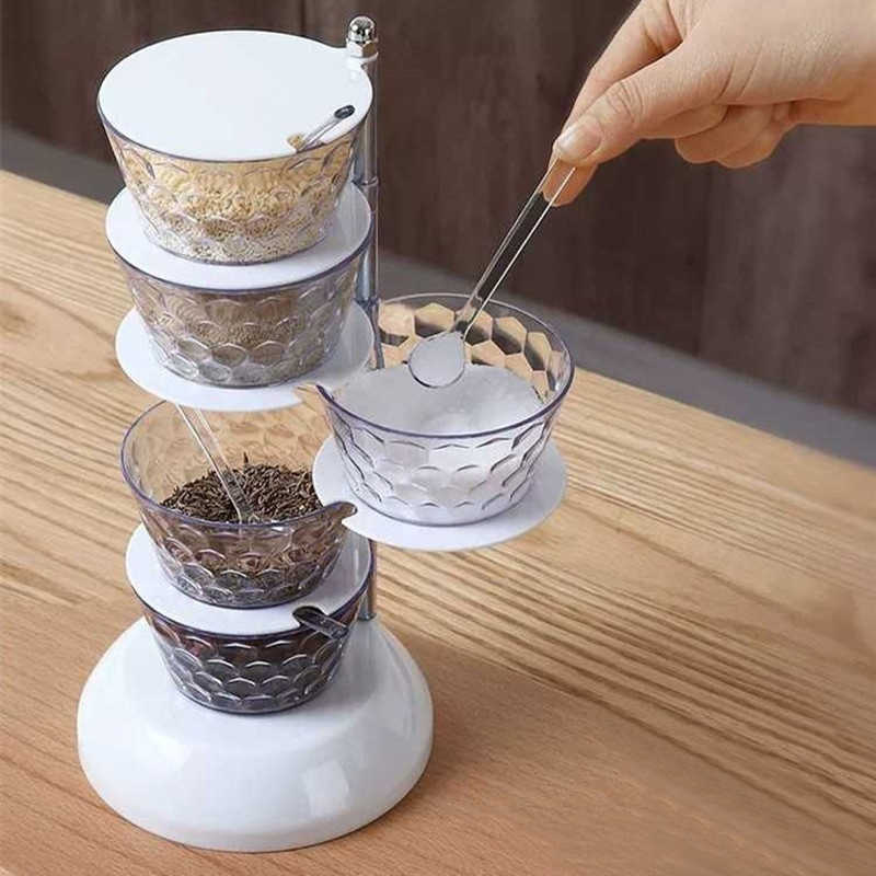 Rotating Revolving 4-Tier Spice Rack Seasoning Box Kitchen Condiment Containers