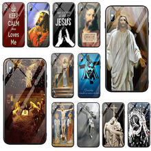 Tempered Glass Phone Cases Cover for iPhone 5 5S SE 8 7 6 6S Plus X XR XS 11 Pro Max Bags Shell Divine Mercy Jesus(China)