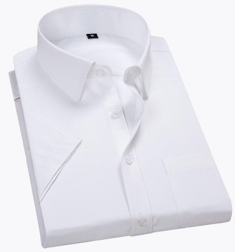Quality Summer Men Shirt Short Sleeved Solid Twill Formal Business White Camisa Masculina Men Social Shirts 4XL 5XL 6XL 7XL 8XL(China)