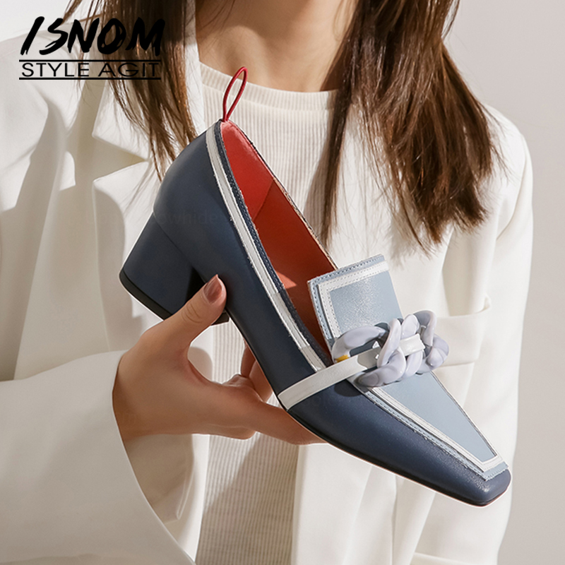 ISNOM Chunky High Heels Women Pumps Natural Genuine Leather Thick Heel Loafers Shoes Casual Vintage Square Toe Ladies Shoes