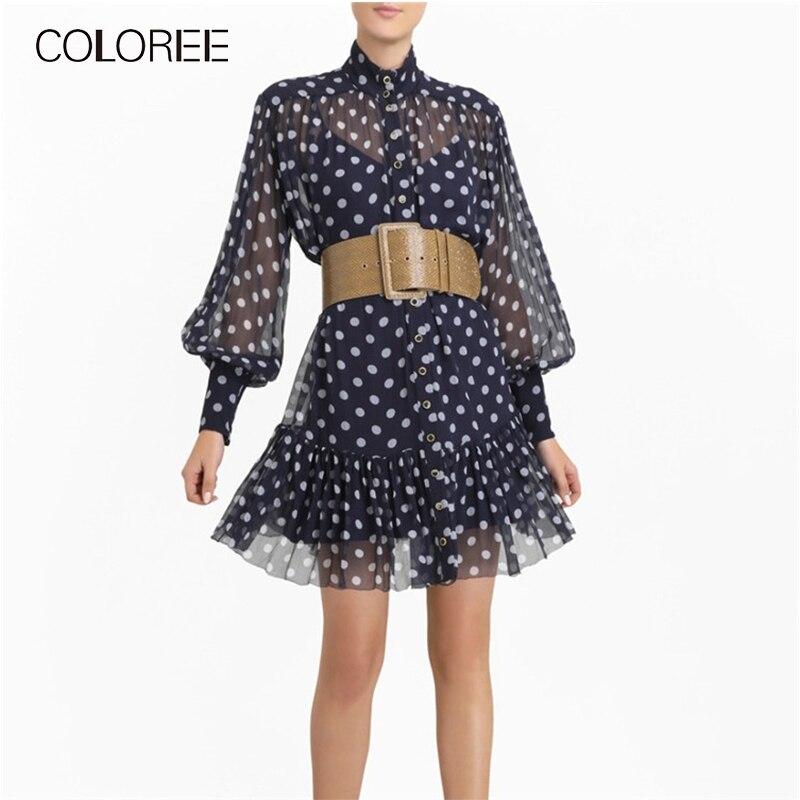 Automne mode bleu à pois en mousseline de soie robe femmes 2019 vintage lanterne manches plissée mini robe robe de designer de piste