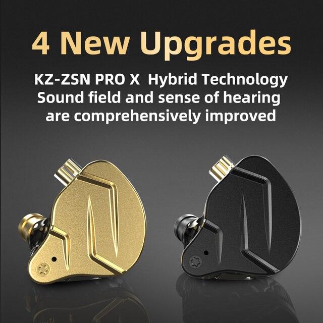 KZ ZSN Pro X Metal Earphones 1BA+1DD Hybrid technology HIFI Bass Earbuds In Ear Monitor Headphone Sport Noise Cancelling Headset 6