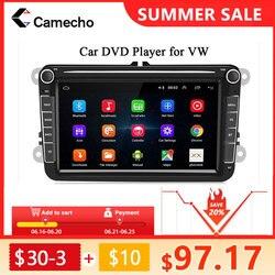Автомагнитола Camecho, 2din, GPS, Android 8,1 для VW/Volkswagen/Golf 4 5/Polo/Tiguan/Passat/b7/b6/Leon/Skoda/Seat/Octavia, Авторадио