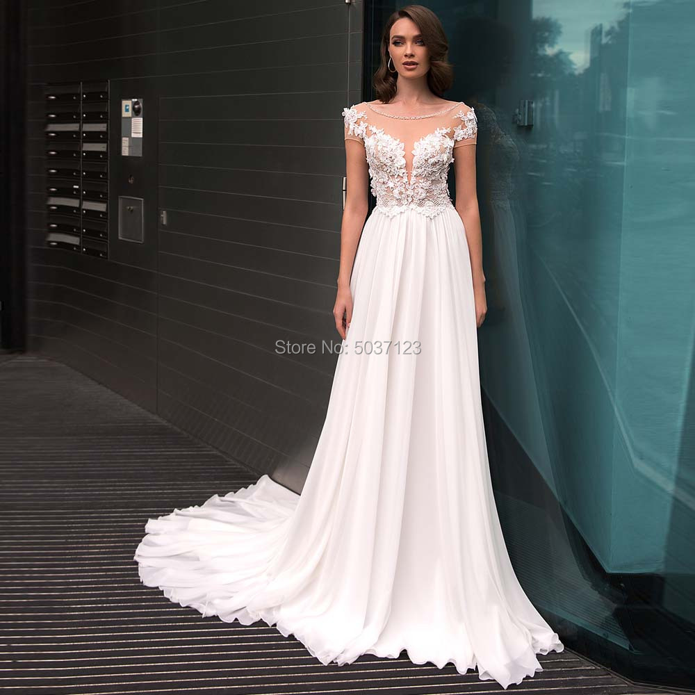 A Line Chiffon Short Sleeves Wedding Dresses Lace Appliques Bridal Gowns Open Back Sweep Train Vestido De Noiva-in Wedding Dresses from Weddings & Events