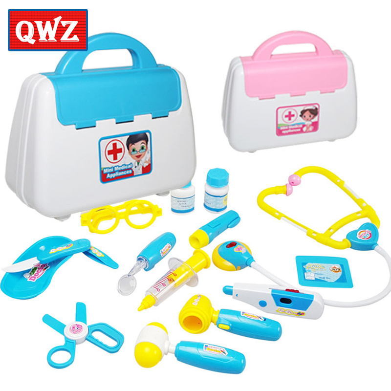 QWZ New 15Pcs Pretend Play Emulational Toy Kit Doctor Echometer Set with Sound Light Education Toys for Children Christmas Gifts image