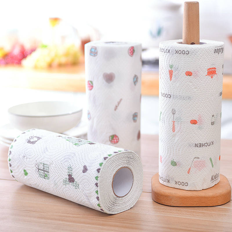 Disposable Kitchen Tissue Water-absorbing Oil-absorbing Paper Towel Wet Dry Use Printed For Home IK88