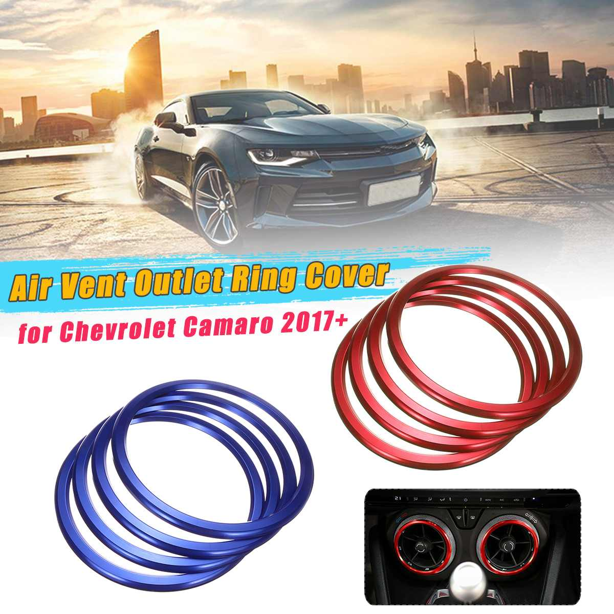 For Chevrolet Camaro 2017 + Aluminum Alloy Air Condition Air Vent Outlet Ring Cover Trim Decoration Car Styling Accessories