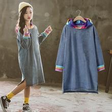 새로운 패션 키즈 여자 청바지 드레스 2020 봄 긴 소매 데님 Tshirt Dresees 10 12 년 어린이 무지개 옷 가을 티셔츠