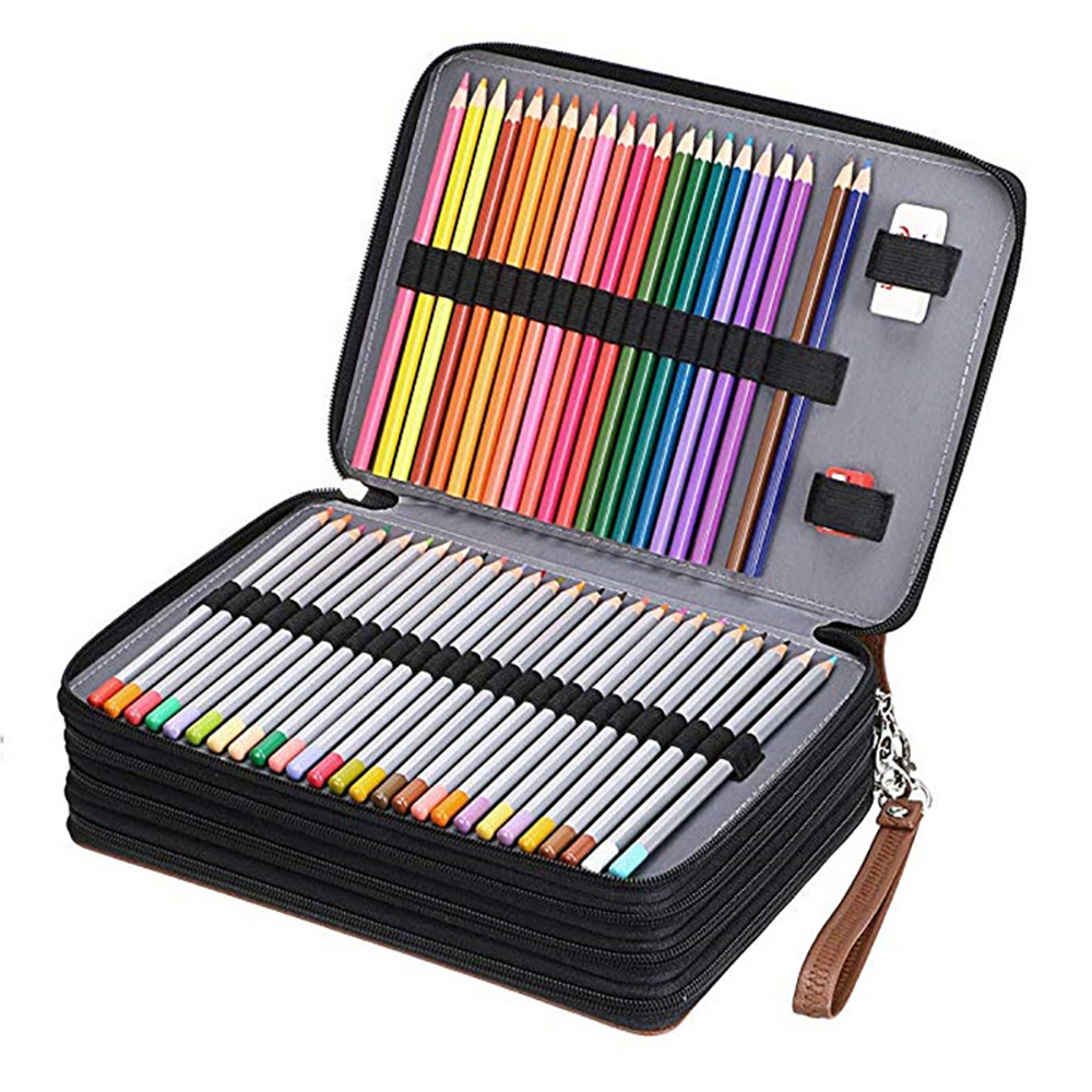 Multifunction 200 Slot Portable Colored Pencil Case Holder Large Capacity Waterproof Leather Pencil Bag Box For Art Student Gift