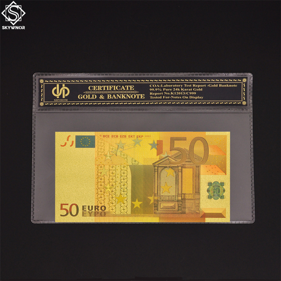 Souvenir Gold Color <font><b>Banknote</b></font> <font><b>Fake</b></font> <font><b>50</b></font> <font><b>Euro</b></font> <font><b>Banknote</b></font> Bill With Sleeve Frame Certificate image