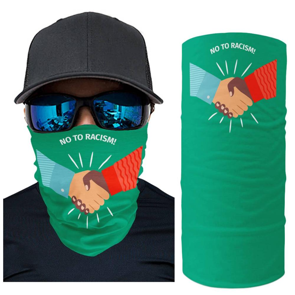 "customizable headscarf wild ""no racism"" slogan  sunscreen muffler towel  neck set riding headscarf shawlneckerchief Face protect"