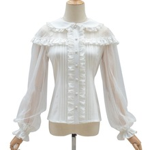 Pleated Blouse Lolita Shirt Button-Up Long-Sleeves Tops Mesh Lace Black Girls Elegant