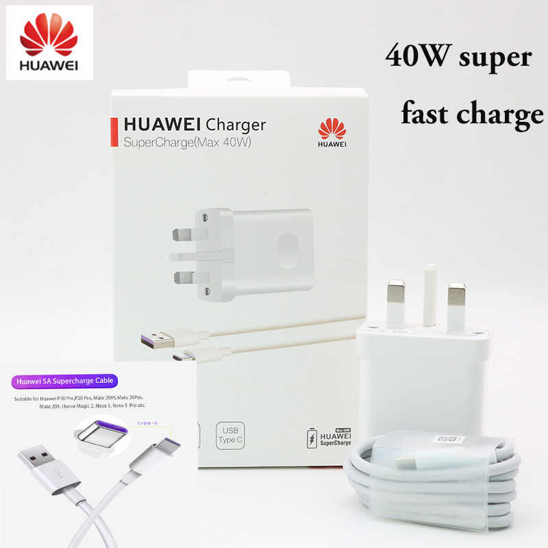 ต้นฉบับสำหรับ HUAWEI Super Charge 40W Quick Charger 10 V/4A 9 V/2A 5 V/ 2A P30 PRO MATE 20 Pro X ฿ Mate10 P20 P10 Mate10 Magic 2