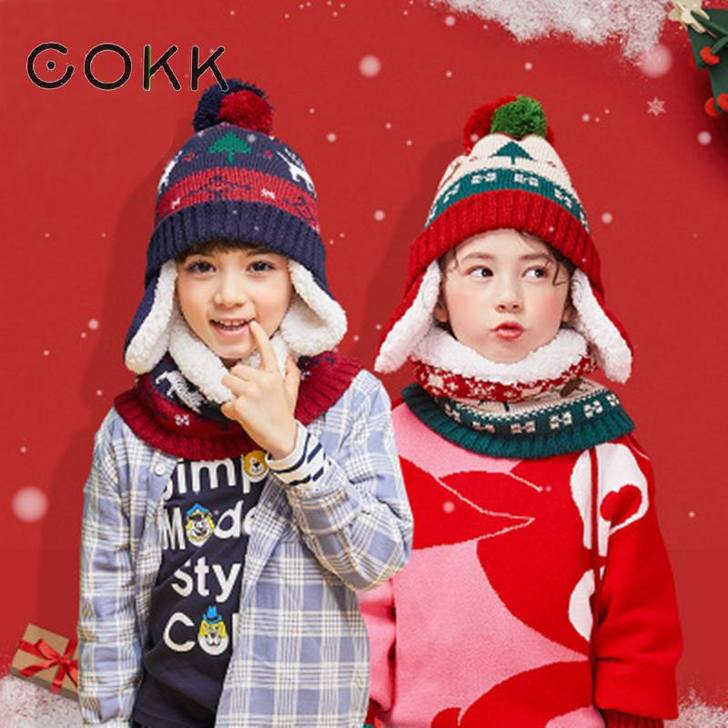 COKK Kids Hat & Scarf Velvet Thickening Set For Children Winter Pompom Knitted Hat With Scarf Two Piece Set Christmas Gift Korea
