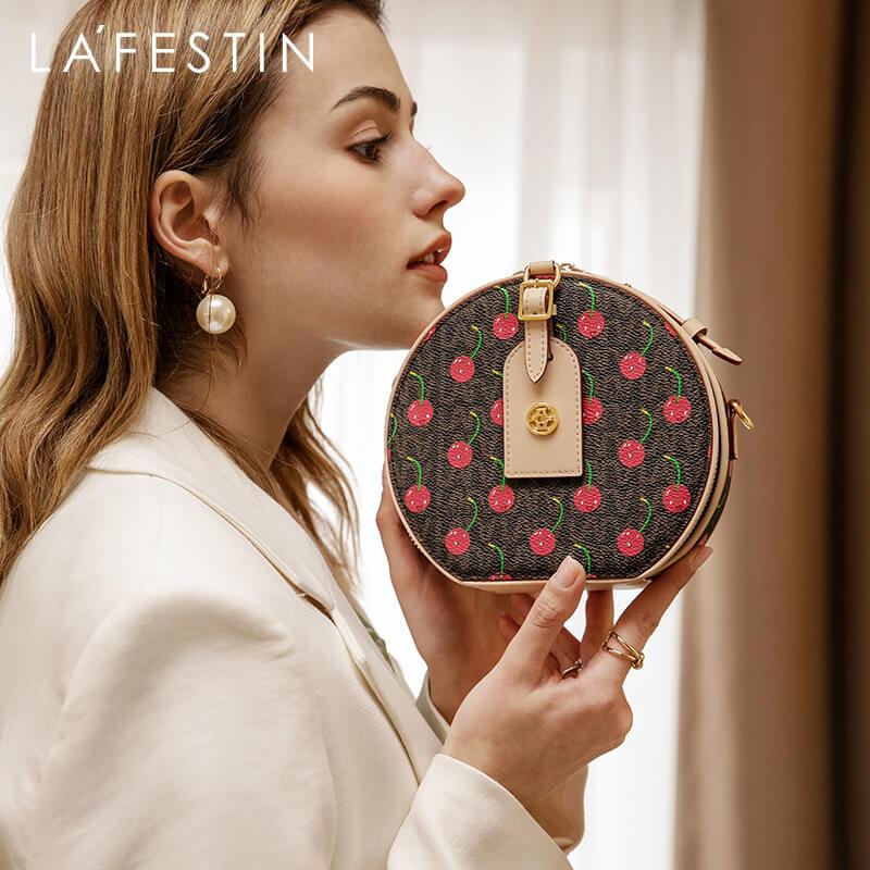 LAFESTIN 2020 New Single Shoulder Messenger Small Round Bag Female Cherry Round Cake Bag Mini Handbag