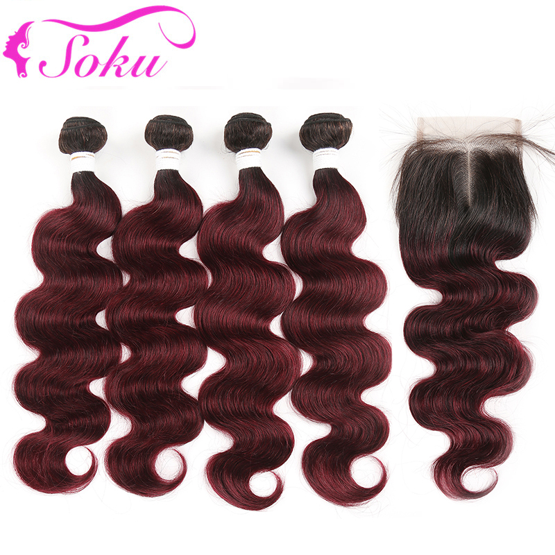 T1B/99J# Ombre Bundles With Closure 4x4 SOKU 4PCS Brazilian Body Wave Human Hair Weave Bundles Non-Remy Hair Weave Extension