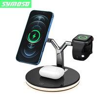 Symoso 3 em 1 carregador sem fio magnético 15w carregamento rápido para magsafe iphone 12/12 pro max para apple relógio airpods