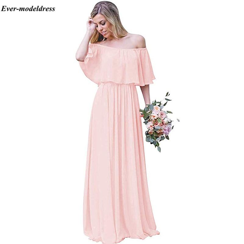 Chiffon Blush Pink Bridesmaid Dresses Long Off The Shoulder Pleat A-Line Country Boho Wedding Guest Dresses Cheap Plus Size