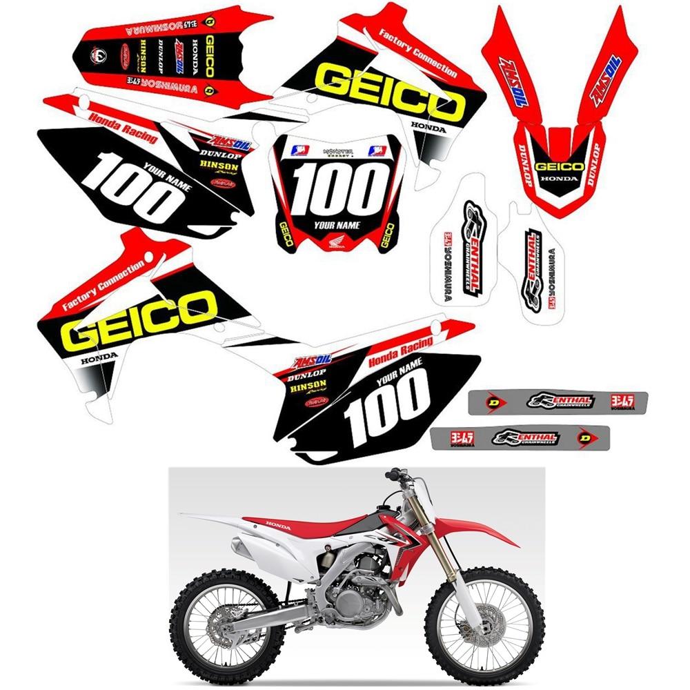 Team Honda Factory Racing graphics 2014-2017 CRF250 CRF250R /& 2013-2016 CRF450R