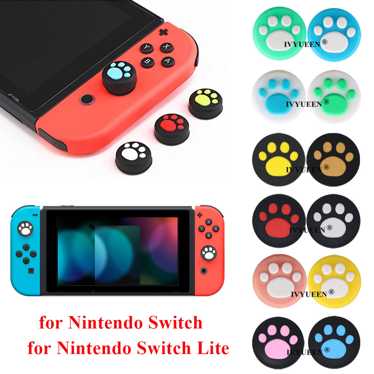 IVYUEEN 4 pcs Silicone Thumb Grips Cover for Nintend Switch NS Lite Joy Con Analog Stick Caps Skin for JoyCon Joystick Grip(China)