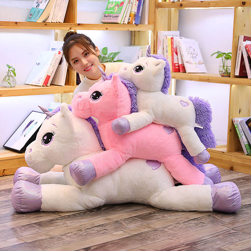 1pc 60-110cm Giant Size Unicorn Plush Toys Soft Stuffed Cartoon Unicorn Dolls Animal Horse High Quality Kids Birthday Xmas Gift