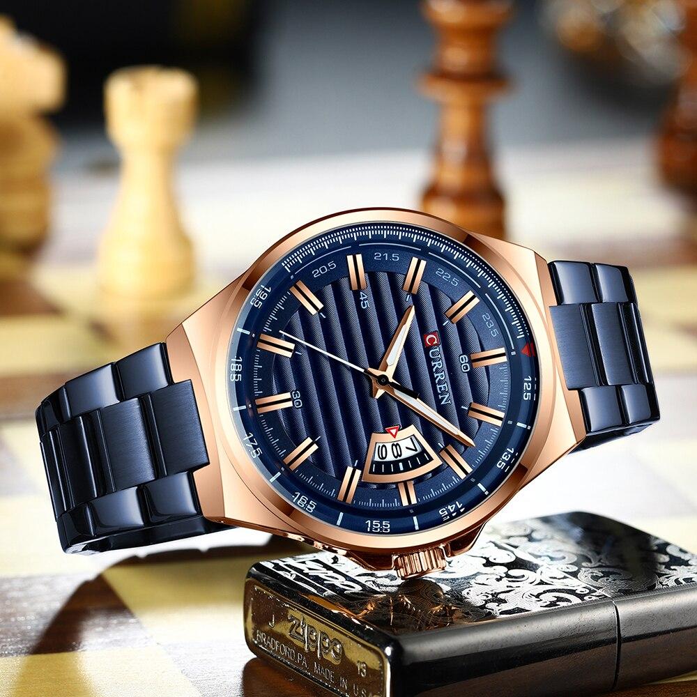 Image 4 - CURREN Brand Men Watches Luxury business Quartz wristwatches Fashion Mens Stainless Steel Band Auto Date clock RelojesQuartz Watches   -