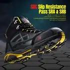 LARNMERN Мужская Рабочая защитная обувь со стальным носком легкая дышащая анти разбивающаяся анти прокол антистатические защитные сапоги - 5