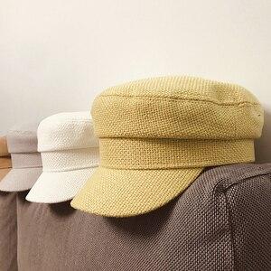 Image 3 - Summer 2020 Japan Net Red Same Hemp Like Breathable Fabric Flat Top Small Military Cap Couple Cap Fashion Cloth Cap Women Hats
