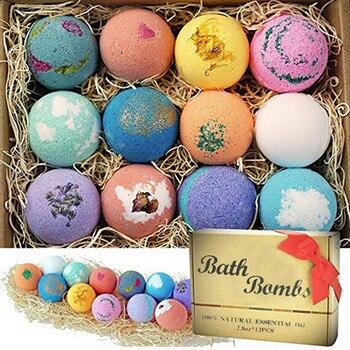 12PCS Organic Bath Salt Body Essential Oil Bath Ball Natural Bubble Bath Bombs Ball Skin Whiten Relax Stress Relief Shower Bombs