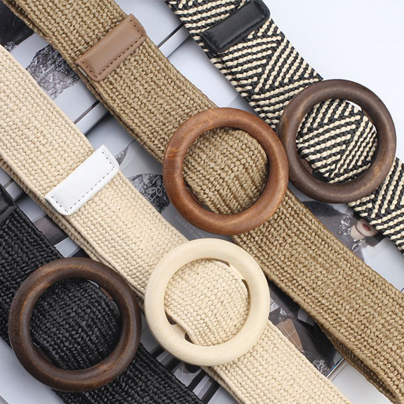 Wide Black PP Straw Designer Wood Buckle Boho Belts Women Bohemian Elastic Braided Belt Fashion Female Dress Jeans
