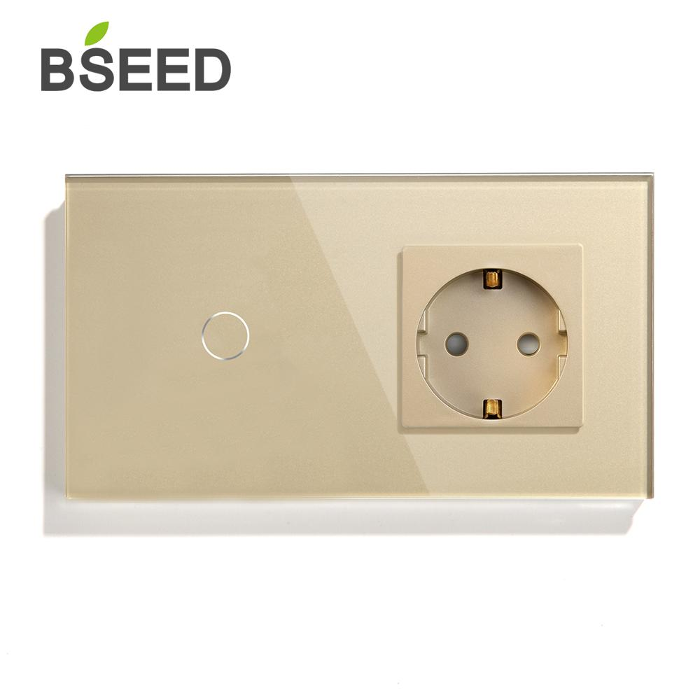 Image 3 - BSEED Touch Switch 1 Gang  2Gang  3Gang 1 Way 2 Way With EU Standard Socket Black White Gold Crystal Glass Panel Switches-in Switches from Lights & Lighting