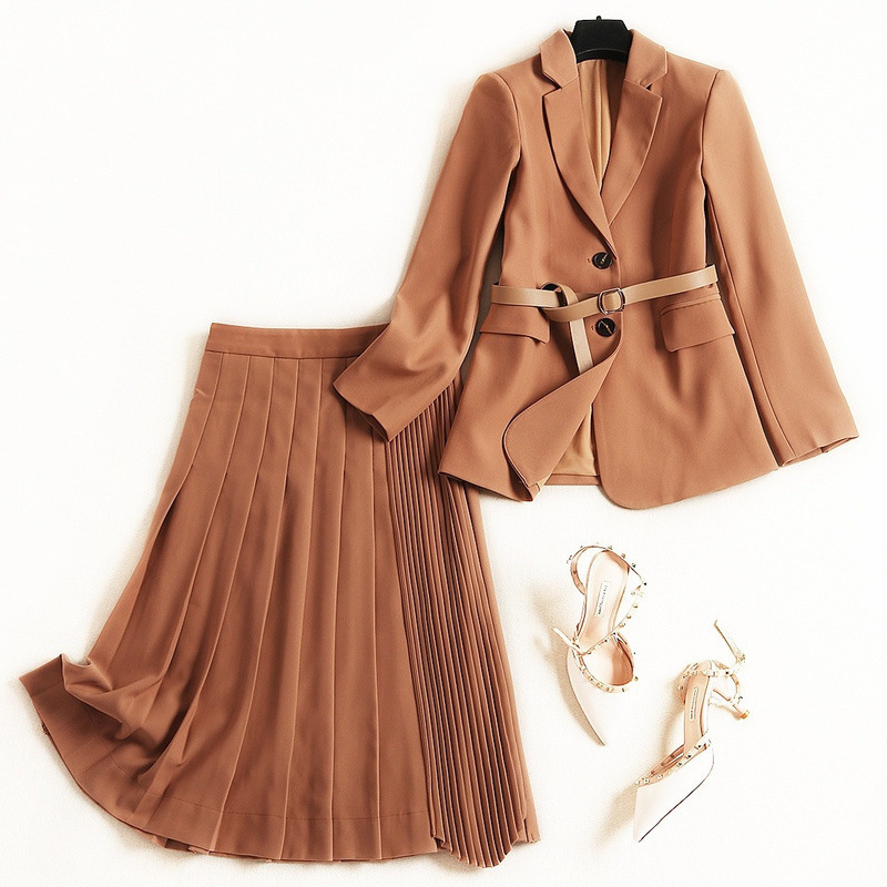 2 Piece Outfits for Women 2020 Blazer with Belt + Pleated Skirts Office Lady Turn-down Collar Sashes Single Breasted  Mid-Calf