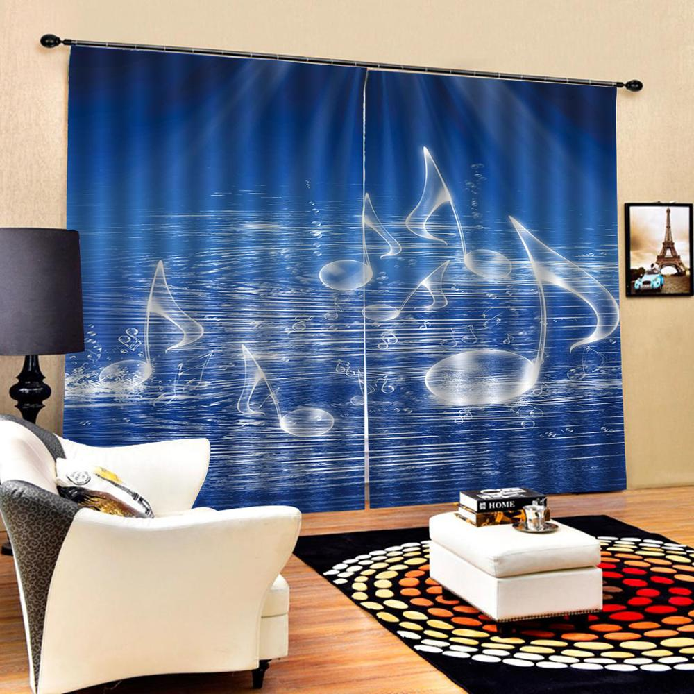 blue 3D Curtain Luxury Blackout Window Curtain Living Room water curtains 3D Blackout Curtains For Living room