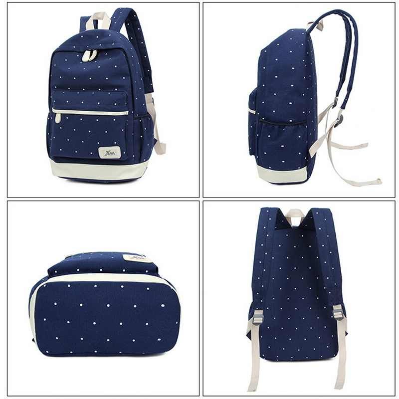 LOOZYKIT 3 unids/set mochila de lona con impresión de puntos para mujer mochilas de viaje para adolescentes