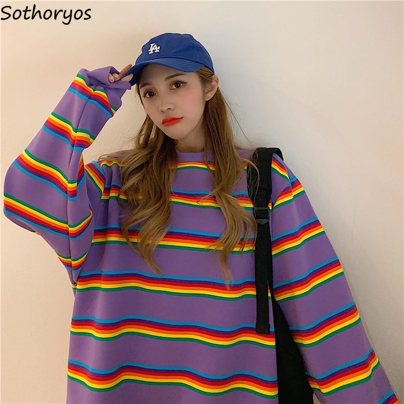 Women Hoodies Oversize Rainbow Striped Thickening Ins Plus Velvet Loose BF Womens Korean Style Ulzzang Leisure Daily All-match