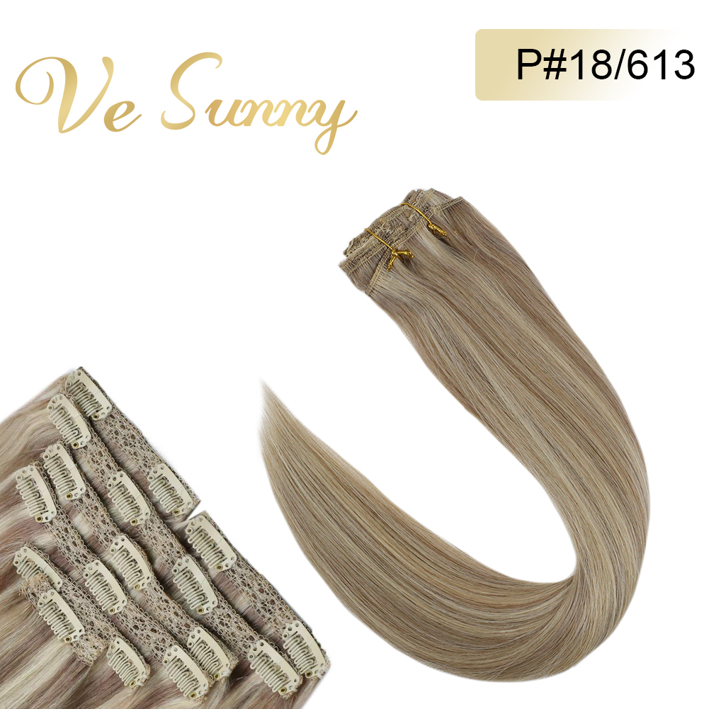 VeSunny Double Weft Clip In Hair Extensions Human Hair 7pcs Clip On Extensions Highlighted Color Ash Mix Blonde #18/613