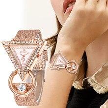 WJ-8553 креативные блестящие часы с кожаным ремешком и треугольным циферблатом для женщин, роскошные стразы, кварцевые наручные часы, классические женские часы
