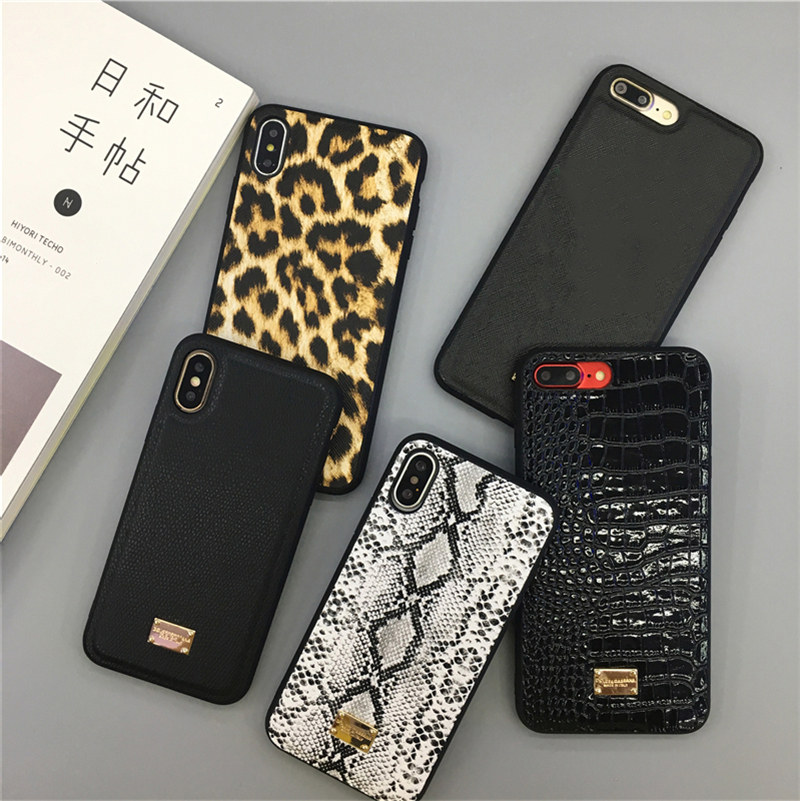 <font><b>luxury</b></font> leopard snake flower Crocodile metal label leather <font><b>case</b></font> for <font><b>iphone</b></font> 11 pro X XR XS Max 7 8 plus 3D hard plastic cover capa image