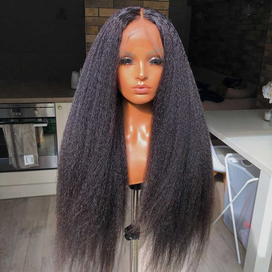 Mongoolse Kinky Straight Lijmloze Pre Geplukt Haarlijn Zijden Top Full Lace Menselijk Haar Pruiken 13X6 Lace Front Kinky rechte Pruiken